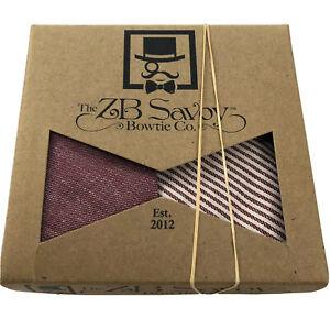 The ZB Savoy Bowtie Co Men's Red Beige Striped Bow Tie