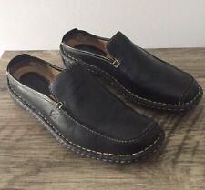 Born Black Leather Shoes Women's Mules Slides Size 8 39 W3813 Exterior Stitching