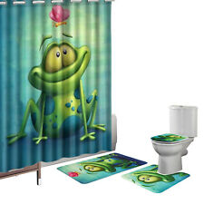 16 Pcs Humor Frog Green Bath Mat Set Contour Mat Shower Curtain Hook Polyester