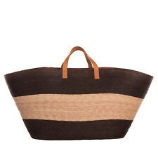 Braided Straw Basket Bag Extra Large Genuine Leather Handles Colour Block