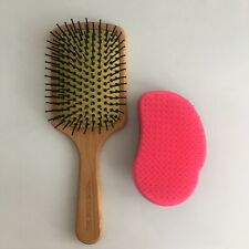 The Body Shop Bamboo Paddle Brush And Tangle Teezer Original Set Used