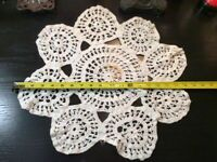 Vintage Doilie Hand Made Doily Crochet Table Lace Dresser Scarf Staging N519