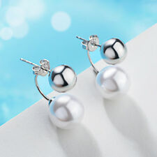 Silver Stud Earrings For Women Round Ball Pearl Simple Personality After Hanging