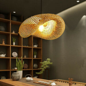 Bamboo Wicker Chandelier Rattan Pendant Light Fixture Hollow Woven Lampshade E27