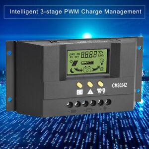 30A PWM Intelligent Solar Panel Charge Regulator 12/24V LCD Controller