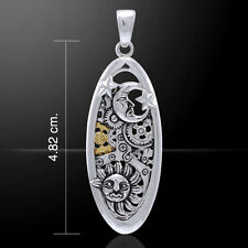 Sun Moon and Star Steampunk .925 Sterling Silver Pendant by Peter Stone
