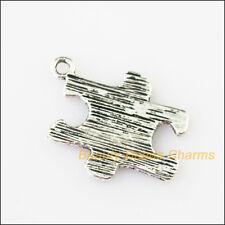 10Pcs Antiqued Silver Tone Flat Puzzle Charms Pendants 17x21mm