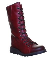 Fly London Ster Women Leather Matt Purple Calf BOOTS Red UK 4 - EU 37