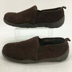 Clarks Slip On Shearling Slippers Mens 11 M Brown Suede Wool Lined Casual Loafer