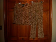 Carole Little Leopard Velour Cotton/Polyester Pajamas Size S