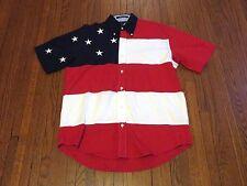 Men's VTG Tommy Hilfiger Big Logo USA Flag Button Down Short Sleeve Shirt sz M
