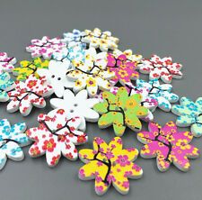 DIY 25X Flowers Printing Buttons Sewing Mixed-color Scrapbooking decoration 25mm