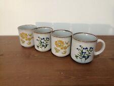 KILN CRAFT STAFFORDSHIRE 4 mugs tasses céramique 2 motifs floraux vintage 70