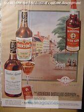 RARE 1943 Esquire AD MR. BOSTON Gin BURTON Whiskey Bourbon Supreme
