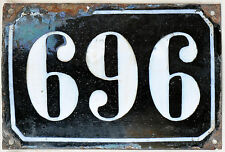 Large old black French house number 696 door gate plate plaque enamel metal sign