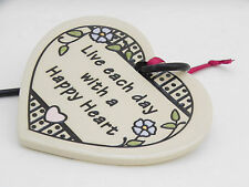 Trinity Pottery Hanging Heart Shaped Ceramic Plant Hook LIVE EACH ..HAPPY HEART