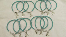 "1 Doz TEAL Cervical Cancer ""Hope"" with Glass Bead Bracelet ***FREE SHIPPING***"