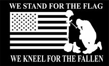 "We Stand For The Flag & Kneel For The Fallen NFL 11""Wx7""H Window Car Decal"