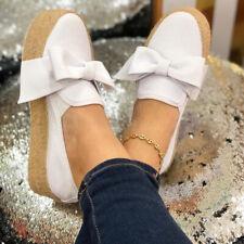 Women Platform Sneakers Canvas High Wedge Slip On Pump Bowknot Comfort Shoe Size