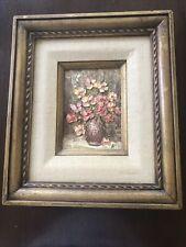 "Alecia Pell New York Still Life Painting Acrylic 12.5"" X 14.5"" Flowers Framed"