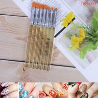 7X Manicure Uv Gel Brush Pen Transparent Acrylic Nail Art Painting Brush Tool UK