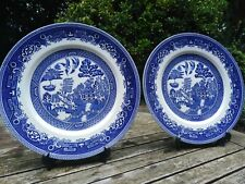 More details for beautiful alfred meakin old willow 25 cm dinner plates x2