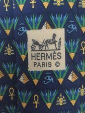 HERMES RARE MEN'S SILK TIE EGYPTIAN ANKH PHAROAH DESIGN BLUE BACKGROUND 7616 TA