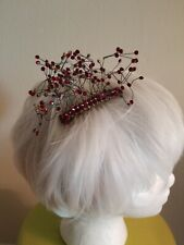 Hair Comb Accessory Jewelry Red Rhinestones Crystals Rare OOAK Holiday Wedding