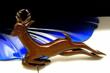 Vintage Carved Wood Leaping Gazelle Impala Pin Brooch