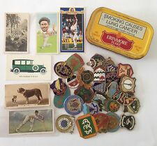 Erinmore Flake Tobacco Tin Cigarette Cards South African Bowls Badge Lot (B67)