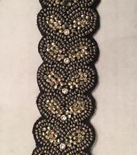 Evening Black Sash Belt Jewels Beads Hearts Velvet 28 Inches Used