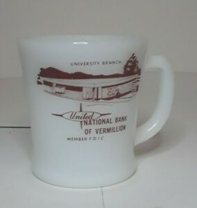 Vtg Fire King Anchor Hocking United National Bank Of Vermillion Coffee Cup Mug