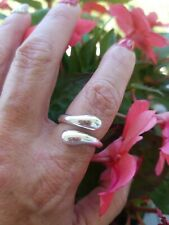 High Polished Dripping Sterling Silver Bypass Ring, 925 Silver, Size 7-9