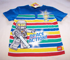 Lego Space Action Boys Blue Stripe Printed Short Sleeve T Shirt Size 5 New