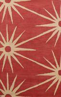 RED/ IVORY Geometric Modern Oriental Area Rug Hand-tufted Wool 5x8 Foyer Carpet