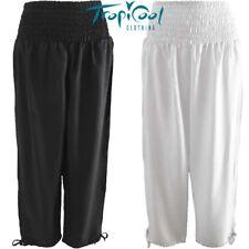 Ladies Long Shirred Pants Black White Plus Size | Yoga or Casual Wear