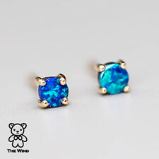 Tiny Round Natural Australian Doublet Black Opal Stud Earrings 14K Yellow Gold