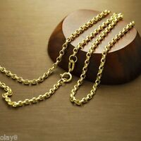 New Au750 Real 18K Yellow Gold Necklace Women Cable Link Chain 60cm L 24inch