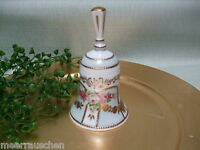 Nostalgie Porzellan Glocke Tischglocke türkis  Goldverzierungen Othengrafen Neu