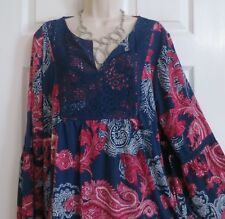 """NEW Boho Bell Sleeves Loose Peasant Top by New Directions Curvy Plus 1X Bust 50"""""""