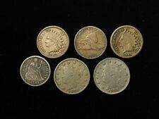 More details for usa collection of 6x coins, 19th century
