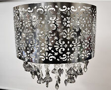 Chrome Metal Laser Cut Large Jewelled Pendant Light Shade