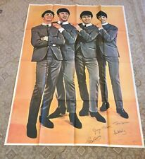 "Original 1964 Beatles Fan Club Poster 54"" X 39"" New Old Stock Great Condition"