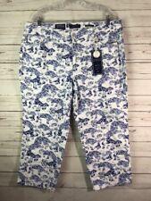 Charter Club Women's Plus Sz Bristol Printed Tummy-Control Capri Jeans 18W Ocean