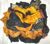 LOT PURE SILK Antique Vintage Sari REMNANT Fabrics 100 GRAMS CRAFT DOLL QUILT 11