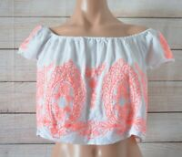 Seed Teen Girls Crop Top Off Shoulder Size 14 White Pink Embroidered