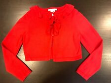 Janie and Jack Camellia Summer Red cropped Sweater cardigan Size 5 EUC