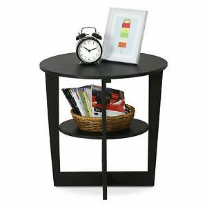 Oval Sofa Side End Table Magazine Book Storage Shelf Stand Coffee Tray Walnut