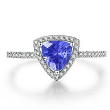 Natural Diamonds 10K White Gold Exquisite 6x6mm Tanzanite Fing Ring 0.2ct