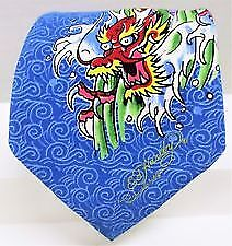 ED HARDY SILK TIE BLUE DRAGON BY CHRISTIAN AUDIGIER 60.5-3